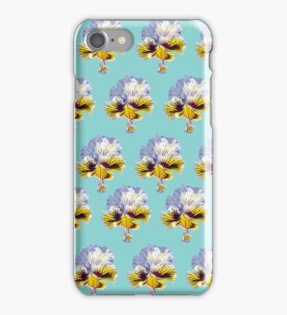 blue and yellow pansy pattern on a bright blue background iPhone Case/Skin