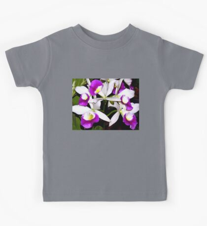 Purple and white pond orchids Kids Tee