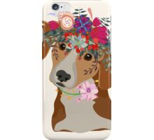 Drawing pen dog face with beautiful flowers  iPhone Case/Skin