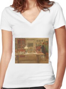 Vintage famous art - Carl Larsson - Getting Ready For A Game Women's Fitted V-Neck T-Shirt
