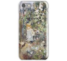 Vintage famous art - Berthe Morisot  - A Child In The Rosebeds iPhone Case/Skin