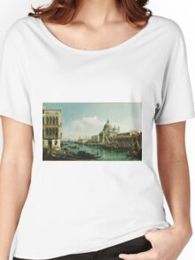 Vintage famous art - Bernardo Bellotto  - View Of The Grand Canal And The Doganaabout 1743 Women's Relaxed Fit T-Shirt