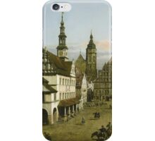 Vintage famous art - Bernardo Bellotto  - The Marketplace At Pirna 1764 iPhone Case/Skin