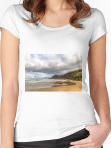 Beach along Great Ocean Road, Victoria. Women's Fitted Scoop T-Shirt