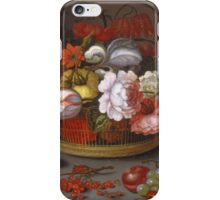 Vintage famous art - Balthasar Van Der Ast - Basket Of Flowers iPhone Case/Skin