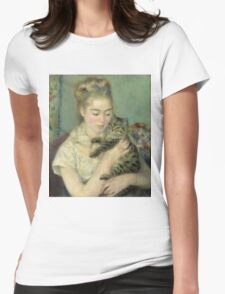Vintage famous art - Piere Auguste Renoir - Woman With A Cat Womens Fitted T-Shirt