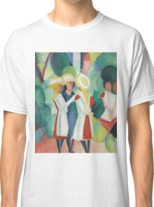 Vintage famous art - August Macke - Three Girls In Yellow Straw Hats I Classic T-Shirt