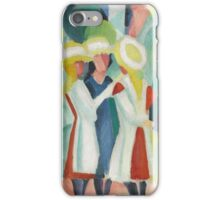 Vintage famous art - August Macke - Three Girls In Yellow Straw Hats I iPhone Case/Skin