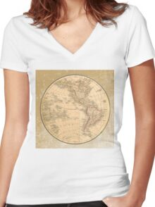 Antique Map Western Hemisphere Women's Fitted V-Neck T-Shirt