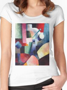 Vintage famous art - August Macke - Colored Composition Of Forms Women's Fitted Scoop T-Shirt