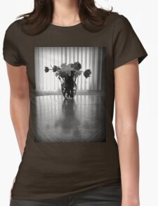 Tulips & Daffodils in Black & White Womens Fitted T-Shirt