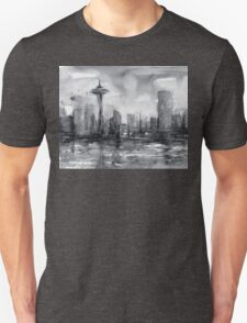 Seattle Skyline Painting Watercolor T-Shirt