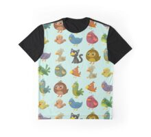 Cat Bird Graphic T-Shirt