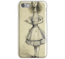 Vintage famous art - Alice In Wonderland - Curiouser And Curiouser iPhone Case/Skin