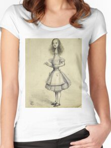 Vintage famous art - Alice In Wonderland - Curiouser And Curiouser Women's Fitted Scoop T-Shirt