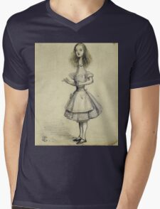 Vintage famous art - Alice In Wonderland - Curiouser And Curiouser Mens V-Neck T-Shirt
