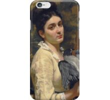 Vintage famous art - Alfred Stevens  - Lady With A Bird 1860 iPhone Case/Skin