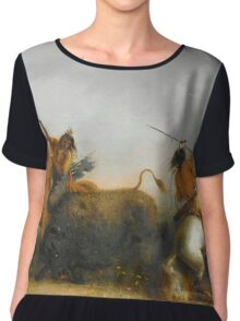Vintage famous art - Alfred Jacob Miller  - Buffalo Hunt Chiffon Top