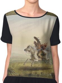 Vintage famous art - Alfred Jacob Miller  - Beating A Retreat Chiffon Top