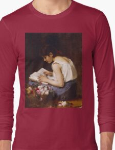 Vintage famous art - Alexej Alexejewitsch Charlamoff - A Girl Reading Long Sleeve T-Shirt