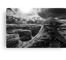 Writing on Stone Hoodoos - BW Canvas Print