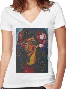 Vintage famous art - Alexei Jawlensky  - The Blue Mantilla 1913 Women's Fitted V-Neck T-Shirt