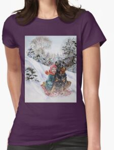 Vintage famous art - Alexander Day - Good Dog Carl Goes Sledding Womens Fitted T-Shirt