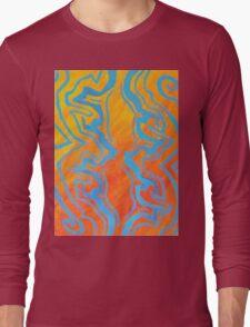Abstract Acrylic Pattern - Orange & Blue Long Sleeve T-Shirt