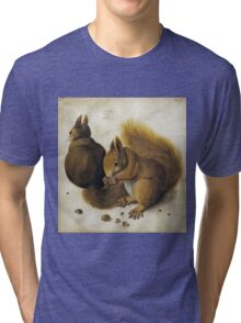 Vintage famous art - Albrecht Durer - Two Squirrels One Eating A Hazelnut Tri-blend T-Shirt