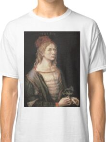 Albrecht Durer - Autoportrait 1493. Man portrait:  Durer,  man, self-portrait, costume, curled, hair, hairstyle, hat , dandy, fashion, medieval costume, painter Classic T-Shirt
