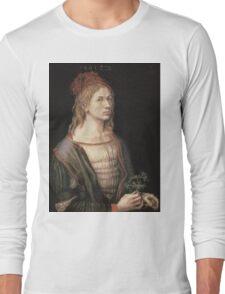 Albrecht Durer - Autoportrait 1493. Man portrait:  Durer,  man, self-portrait, costume, curled, hair, hairstyle, hat , dandy, fashion, medieval costume, painter Long Sleeve T-Shirt