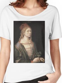 Albrecht Durer - Autoportrait 1493. Man portrait:  Durer,  man, self-portrait, costume, curled, hair, hairstyle, hat , dandy, fashion, medieval costume, painter Women's Relaxed Fit T-Shirt