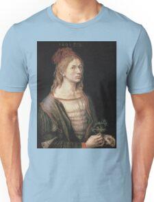 Albrecht Durer - Autoportrait 1493. Man portrait:  Durer,  man, self-portrait, costume, curled, hair, hairstyle, hat , dandy, fashion, medieval costume, painter Unisex T-Shirt