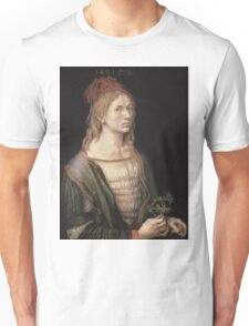 Albrecht Durer - Autoportrait 1493. Man portrait:  Durer,  man, self-portrait, costume, curled, hair, hairstyle, hat , dandy, fashion, medieval costume, painter Unisex T-Shirt