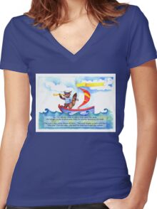 Adventure Fox Goes Sailing Women's Fitted V-Neck T-Shirt