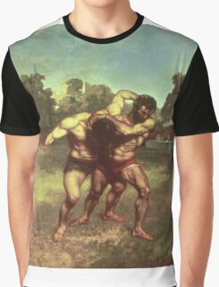 Vintage famous art - Gustave Courbet - The Wrestlers Graphic T-Shirt