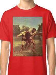 Vintage famous art - Gustave Courbet - The Wrestlers Classic T-Shirt