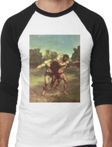 Vintage famous art - Gustave Courbet - The Wrestlers Men's Baseball ¾ T-Shirt