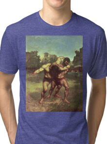 Vintage famous art - Gustave Courbet - The Wrestlers Tri-blend T-Shirt