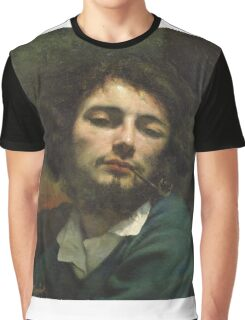 Vintage famous art - Gustave Courbet - Self Portrait Or, The Man With A Pipe Graphic T-Shirt