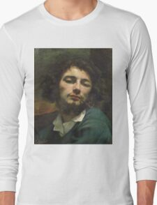 Vintage famous art - Gustave Courbet - Self Portrait Or, The Man With A Pipe Long Sleeve T-Shirt