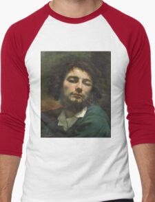 Vintage famous art - Gustave Courbet - Self Portrait Or, The Man With A Pipe Men's Baseball ¾ T-Shirt