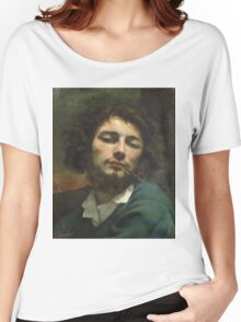 Vintage famous art - Gustave Courbet - Self Portrait Or, The Man With A Pipe Women's Relaxed Fit T-Shirt