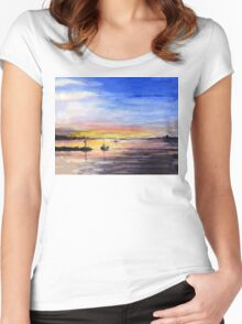 Sunset Watercolor Painting Women's Fitted Scoop T-Shirt