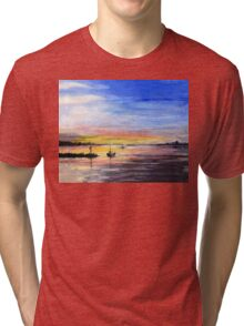 Sunset Watercolor Painting Tri-blend T-Shirt