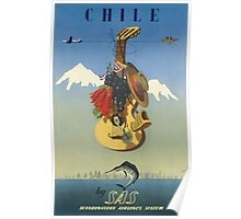 Chile by SAS Scandinavian Airlines System Vintage Travel Poster Poster