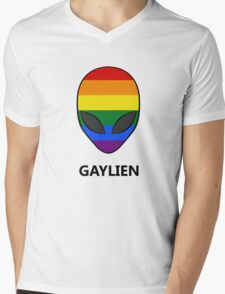 Gaylien Rainbow LGBT Pride Mens V-Neck T-Shirt