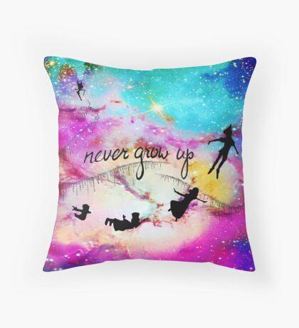 Never Grow Up Peter Pan Nebula Throw Pillow