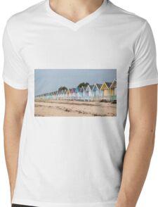 Beach Huts Mens V-Neck T-Shirt
