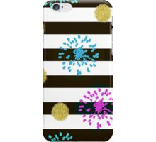 Gold glitter confetti circles and abstract elements seamless pattern on striped background iPhone Case/Skin
